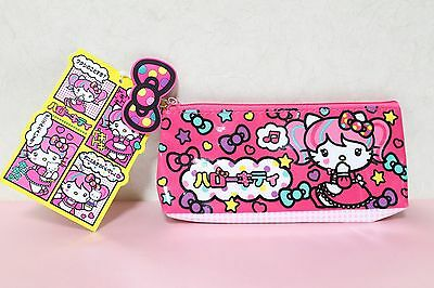 RARE NWT 2013 Sanrio Hello Kitty CUTE Pink Japanimation Twin Tail Pen Pouch