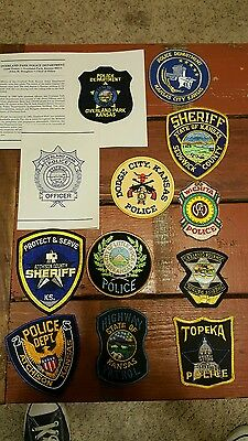 obsolete police  sheriff patches state country lot of 12 vintage mint Kansas #13