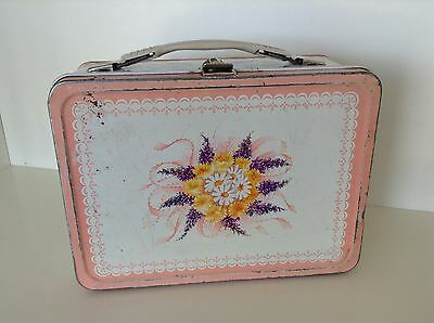 vintage white and pink flower lunchbox by Thermos