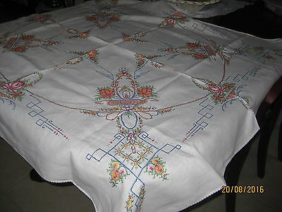 Beautiful Hand Embroidered, Edged Tablecloth  All Crossstitch