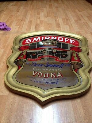 Vintage Smirnoff Vodka Purveyors To Imperial Russian Court  Mirrored Bar Sign