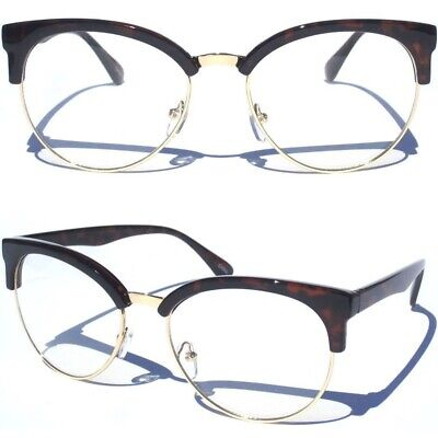 Large Front Half Frame Brow Clear Lens Eye Glasses Classic Vintage Inspired New
