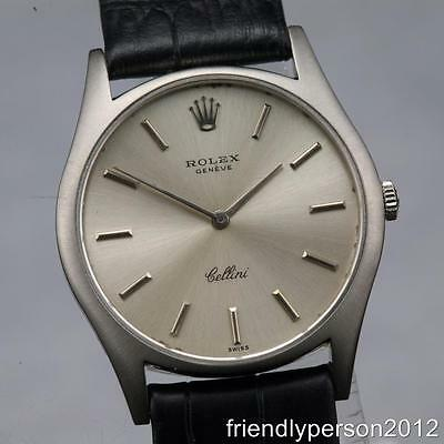 Vintage Rolex Cellini 18K Solid White Gold Ref 3804 Manual-Winding 32mm Watch