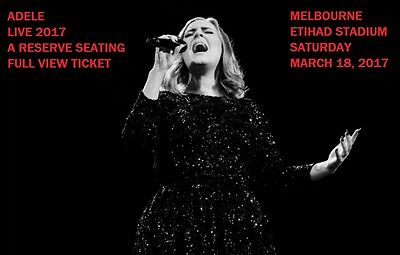 Adele March 18 A Reserve 4 Tickets Melbourne