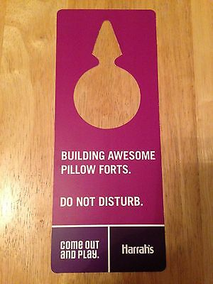 DO NOT DISTURB SIGN Harrah's Las Vegas BUILDING AWESOME PILLOW FORTS Pink/Purple