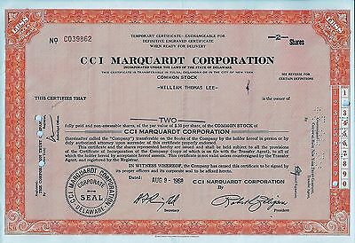 CCI Marquardt Corporation, 1968, Temporary Certificate (2 Shares)