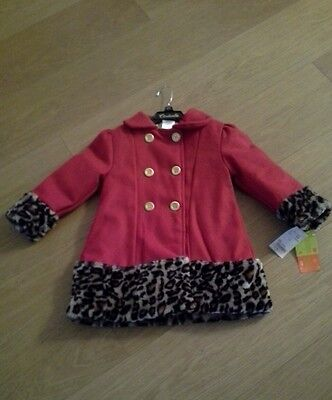 Bnwt Girls Red Penelope Mack Ltd Designer Lined Cinderella Coat Aged 4 Years