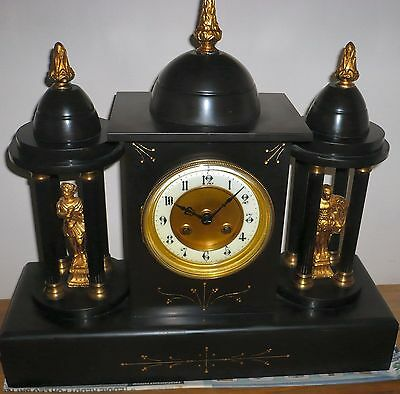 "Slate & Marble Castle clock, 15 x 15 x 5""  Paris clock, collect only WV14 area"