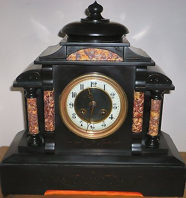 """Slate & Marble clock, 13 & 1/2 x 14 x 5&1/2"""" Japy fryer clock collect only WV14"""