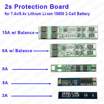 PCB Protection Board 3A-15A 2S for 2 Packs 18650 Li-ion Lithium 2-Cell Battery