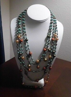 Vintage 5 Strand Teal, Bronze, Pink Pearl Bead Necklace Lobster Clasp Vclm