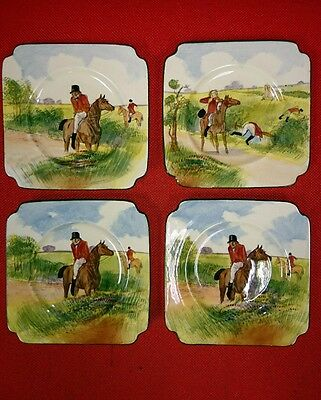 ROYAL DOULTON SERIESWARE ~ SERIES WARE FOX HUNTING ~BLUE SKY H.PAINTED PLATES x2