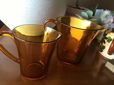 Two (2) Duralex Amber Glass Jugs - Made In France -