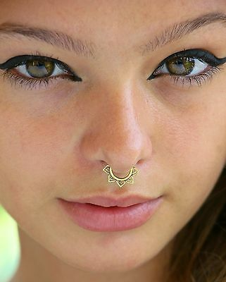 Brass Fake Septum Tribal For Non Pierced Nose Ring Piercing Jewelry Fake Clip On