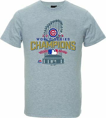 MLB Baseball T-Shirt CHICAGO CUBS World Series 2016 Champions Trophy Majestic