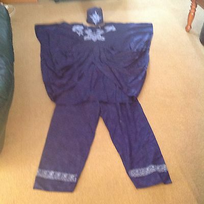 Traditional African  Blue And Cream Embroidered Trouser & Top (Booboo) Outfit