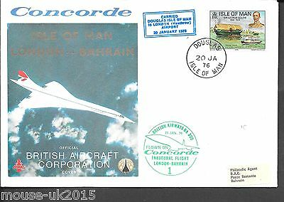 Gb Isle Of Man Concorde 20.1.1976 To Bahrain. Received 21.1.1976.
