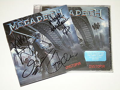 Megadeth Dystopia Cd Signed By Complete Group Band Dave Mustaine New Sealed