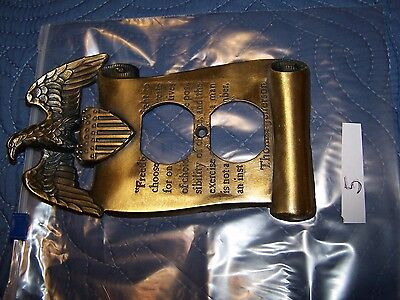 1967 Brass Wall Plate Eagle Thomas Jefferson Outlet Cover Freedom Quote 5