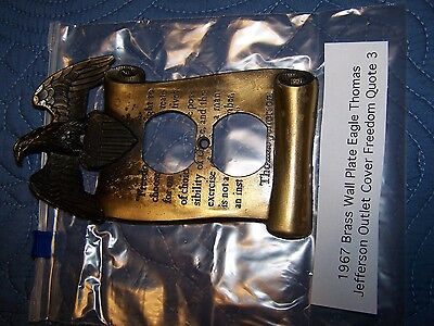 1967 Brass Wall Plate Eagle Thomas Jefferson Outlet Cover Freedom Quote 3