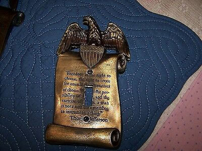 Vintage Brass Wall Plate Eagle Thomas Jefferson Light Switch Cover Freedom Quot1