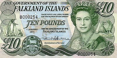 Falkland Islands  £10  Note. 01/01/11 Very Low First  Prefix  B000254  Unc