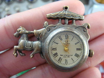 Collectable brass carriage Horse Drawn Tram machine pocket watch clock