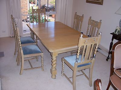 Antique Jacobean Dining Setting, extension table,5 straight chairs & 1 carver