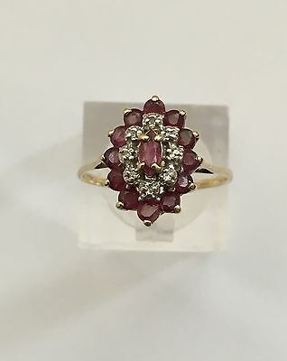 9ct Gold Diamond And Ruby Cluster Ring, Size O 1/2