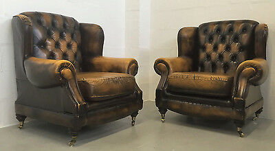 Superior Quality Brown Tan Leather Thomas Lloyd Pair Of Chesterfield Armchairs