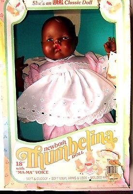 """Vintage New In Box Thumbelina Black Doll 18"""" With """"Ma-Ma"""" Voice 1984 Ideal NOS"""