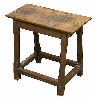 Georgian Oak Joint Stool with Traditionally Pegged Top and Cross Stretchers