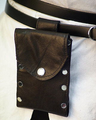 Medieval-LARP-SCA-Re-enactment-Leather MOBILE PHONE POUCH Black or Brown