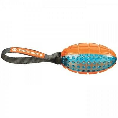 TRIXIE Push to mute - Ballon de rugby avec corde - 12-27 cm - Orange et bleu - P