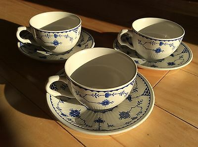 Johnson Brothers blue Denmark tea cups and saucers x 3