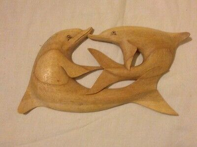"""Playful Dolphins -Carved Suar Wood For The Wall 11"""" x 6"""""""
