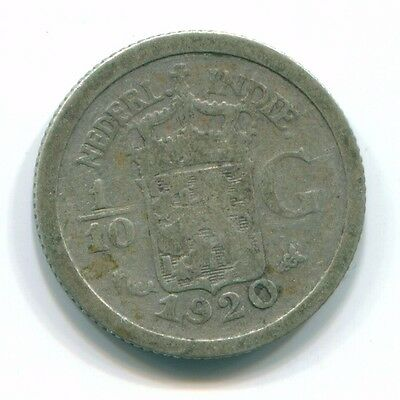 1920 Netherlands East Indies 1/10 Gulden Silver Colonial Coin Nl13355#3