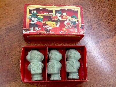 Collectables Vintage Avon Christmas 3 Elves Soaps In Original Box
