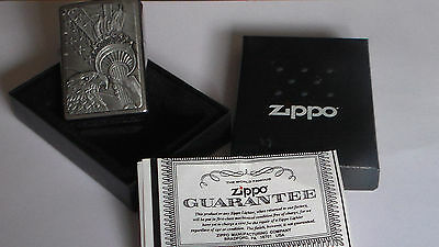 Zippo Eagle and Lady Liberty Torch Emblem Brushed Chrome Lighter