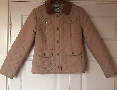 Girls Jasper Conran Beige Quilted Coat Brown Elbow Patches 9-10 Years