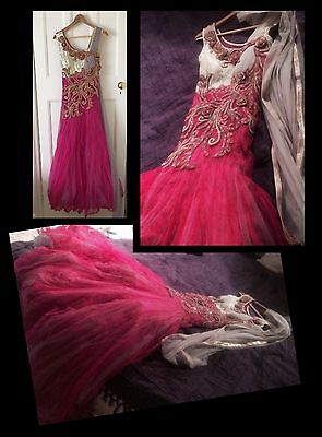 Stunning Pink Anarkali Gown/ Mermaid Maxi Dress -Wedding, Reception, Prom, Party