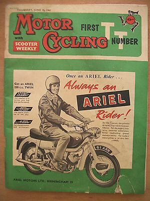 """ Motorcycling""  Magazine. 15 June 1961.   First Tt Number"
