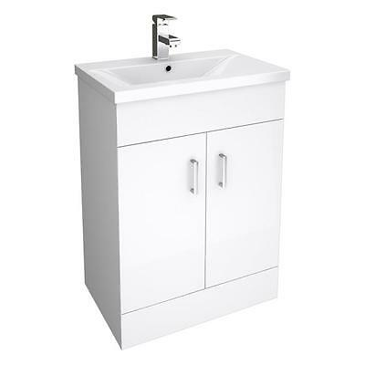 500mm Bathroom Floor Standing Mid-Edged White Vanity Unit Cabinet and Basin