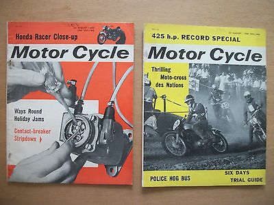 """motor Cycle"" Mags  22 & 29 Aug 1963 - Honda's Racing Fours. Manx Gp Practice"