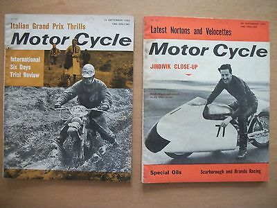 """motor Cycle"" Magazines  19 & 26 Sept 1963 - Test-R50 Bmw. New Greeves Models"