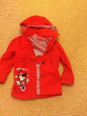 Disney Minnie Mouse Duffle Coat Red And Bag 3-4 Years Used