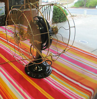 """Antique Vintage Ge Fan Double Blade 12"""" Brass Blades & Cages Not A Repro"""