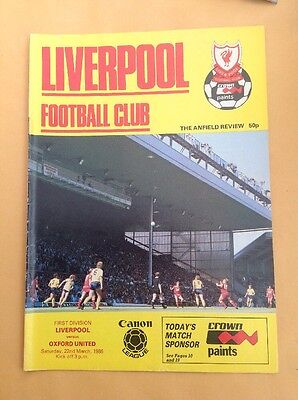 Liverpool v Oxford football programme, 22 March 1986