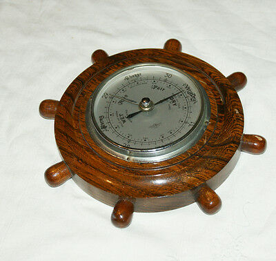 Vintage SB Wall Hanging Ships Wheel Style Oak Cased Barometer