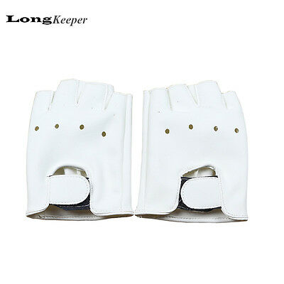Cute Kids Leather Gloves Boys Girls Fashion Gloves Semi Fingerless Glove White